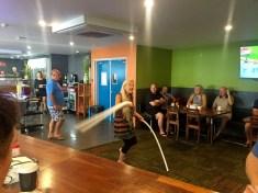 Sarah at Ramada Zen restaurant playing whirlies