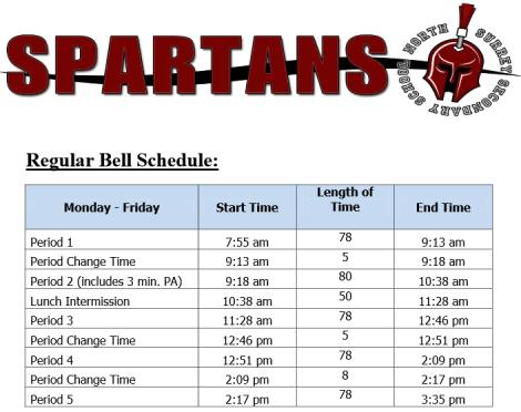North Surrey Secondary's 5 block schedule