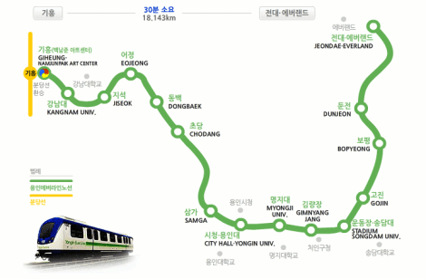Map of the Yongin Everline