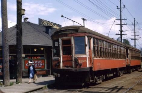 Interurban car 1225 rests at Marpole Station on the old Steveston Interurban