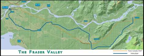 A map of the Fraser Valley interurban right of way, and the Trans-Canada Highway.