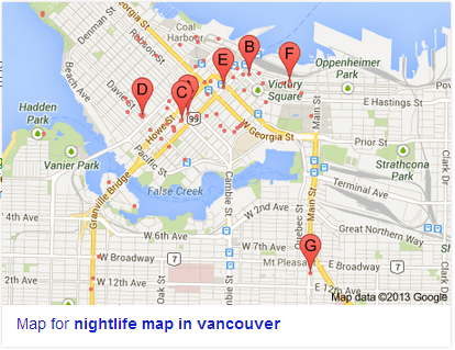 Map from Google of late night establishments in Downtown
