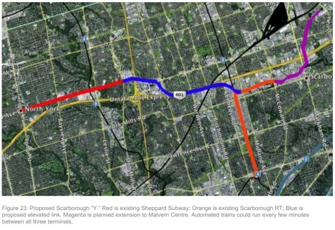 Scarborough Wye proposal from Toronto transit plan critique; CLICK TO ENLARGE