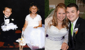 From flower girl and ring bear to bride and groom, 17 years later.