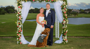 Service Dog, Gabe, serves as Best Man for the wedding of Army veteran Justin Lansford and Carol Balmes. credit: Brad Hall