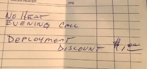 You can't beat this bill that the furnace repair man wrote out for military wife, Bridget Stevens.