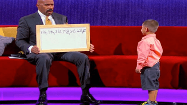 """Comedian Steve Harvey is stumped by 5-year-old math whiz, Luis, on his show, """"Little Big Shots."""""""