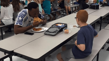 Florida State wide receiver joins Bo Paske for lunch after he spots the boy eating by himself in a middle school cafeteria. For a boy with autism, the one act of kindness has changed his world.