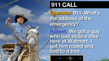 The 911 call from cowboy Robert Borba lassoing bike thief in a Walmart parking lot.