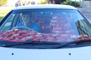 Hershey fills college student Hunter Jobbins' car up with 6,500 Kit Kat bars after one he was keeping in his cup holder was stolen from his car.