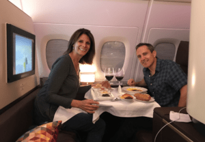 "MilesHusband dropped by my ""apartment"" on Etihad Airways First Class service. Dinner prepared to order by the private chef. This JFK-Abu Dhabi leg would cost $29,000 for the two of us. MH paid $15 each + miles. A great points redemption."