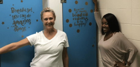Awesome teachers at Simmons Middle School in Hoover, Alabama turn the girls bathroom into an inspiring spa.