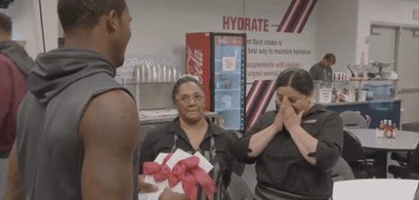 NFL rookie DeShaun Watson gives his first paycheck as a Houston Texan to three team cafeteria workers who lost everything in Hurricane Harvey.