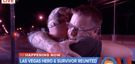 Las Vegas shooting victim Tom McIntosh reunites with the hero, James Lawson, who saved him after the massacre in Las Vegas.