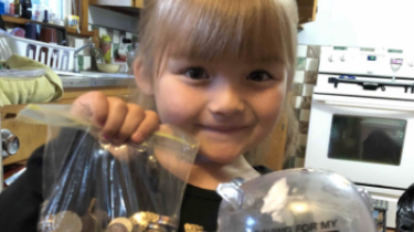 Kindergartner breaks open piggy bank to pay for classmates' milk.