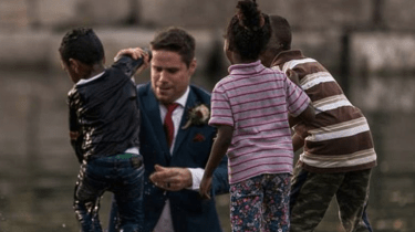 Groom jumps into river during wedding photo shoot to save drowning boy