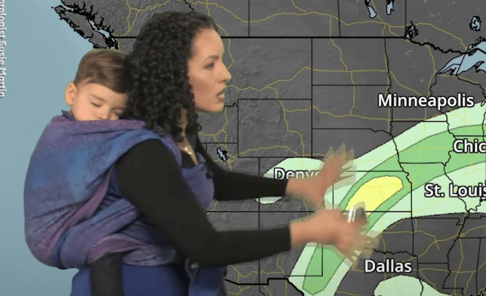 Mom Meteorologist Delivers Weather Forecast Wearing Baby Son On Her Back