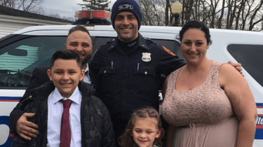 Officer Cody Matthews rescued stranded bride and groom Feliece Terwilliger and Joseph DeMichele, as well as their children, five-year-old Gianna and 10-year-old Jayden