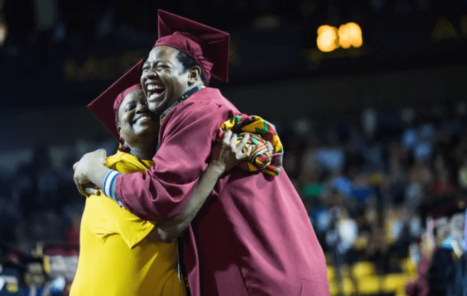 This was a day Sharonda and Stephan Wilson will never forget. The surprise two schools pulled off so mother and son could share their college graduation day.