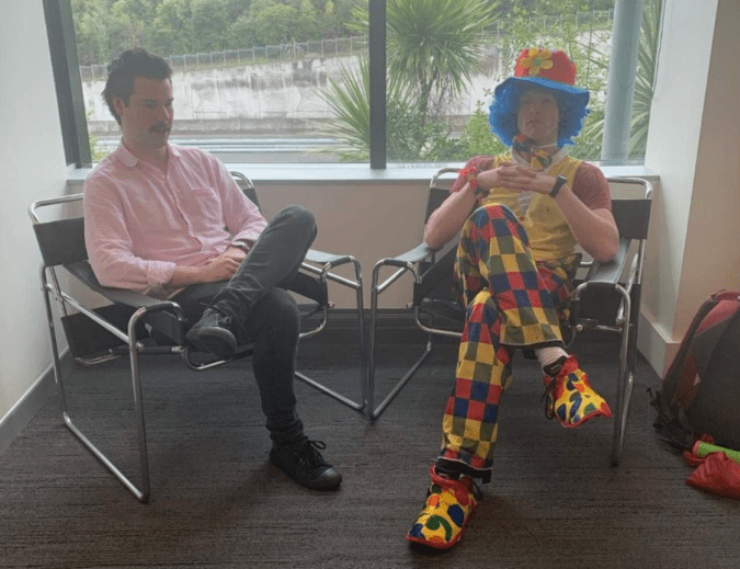 It really happened! New Zealand's Joshua Jack brought an emotional support clown to a meeting where he expected to hear he was losing his job.