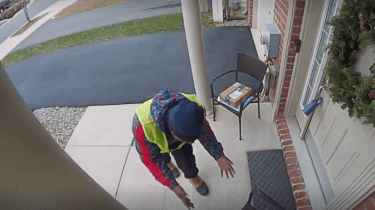 Amazon delivery guy does happy dance when he discovers thank you snacks left at front door.