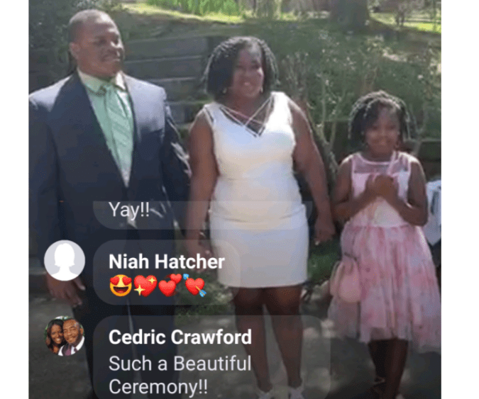 Adrianne and Gabriel Taylor pulled off their March wedding with their little girl by their side thanks to wedding chaplain, Daria MacGregor. Their guests watched via Facebook Live, giving a taste of what a video conference wedding might look like.