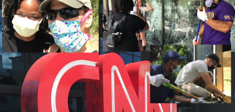 Strangers show up to clean up CNN Center Atlanta after a nights of riots.