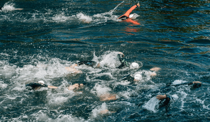 The 2.4 mile open water swim is the most challenging leg for many of the Ironman participants.