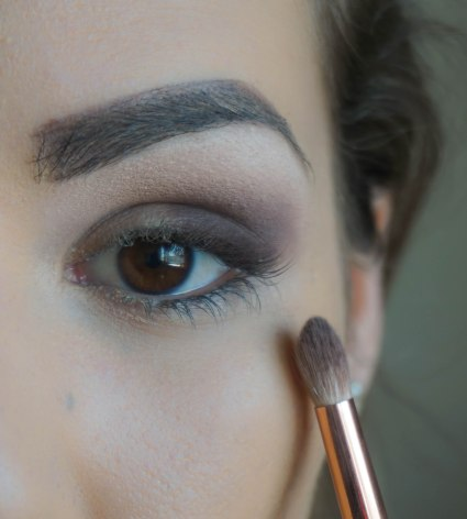 Take just a little amount of matte eyeshadow and blend the harsh lines, you have to be careful not to blend above the base eyeshadow you applied first; Shade- Harmony; Brush 231