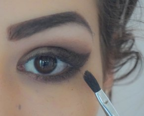 Use small pointy fluffy brush for a very precise blending, you can apply just a little amount of a similar colour eyeshadow and blend the line of created cat eye, blend it just as much as you need to smoke the harsh lines. Blend it also on a lower lash line; CL120, Brush Sigma E47