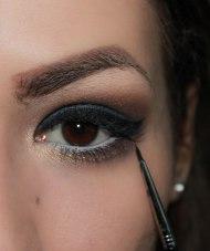 8. create cat eye; Brush- Sigma Eyeliner E11, KIKO Lasting gel eyeliner