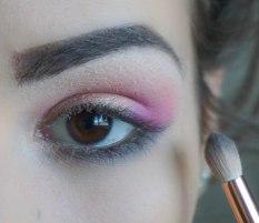 apply matte dark grey eyeshadow on your lower lash line and blend it; Brush- Zoeva 231, Shade- KIKO Milano Infinity 290