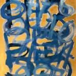 Giorgio Piccaia, Fibonacci blu su giallo, 2020, acrilico su tela, cm 40×30
