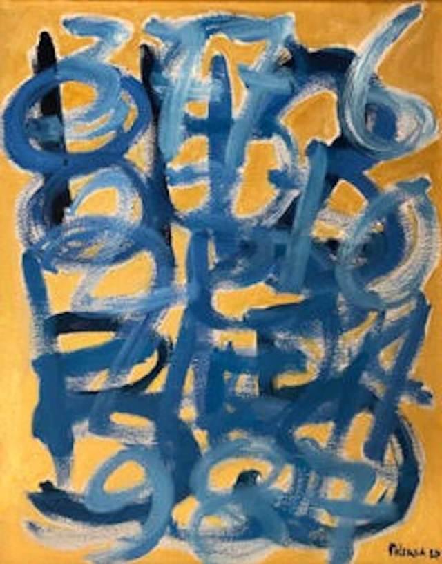 Giorgio Piccaia, Fibonacci blu su giallo, 2020, acrilico su tela, cm 40x30