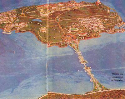 Φωτ.: Η φρυγανώδης νήσος του Πατρόκλου, νότια του Σουνίου, όπως τη φαντάστηκε ο επενδυτής το έτος 2005 (από μακέτα των σχεδίων της επένδυσης, που δημοσιεύθηκε στην εφημερίδα «Ελευθεροτυπία» στο φύλλο της 12ης-6-2005). Κι όμως, η οικολογική σημασία του συγκεκριμένου νησιού είναι πολύ μεγάλη, αφού αποτελεί καταφύγιο μεταναστευτικών πουλιών (το μοναδικό στην περιοχή που δεν το έχει θίξει η ανθρώπινη παρουσία), ενώ στις θαλάσσιες σπηλιές του καταφεύγει η φώκια Monachus monachus. Για το λόγο αυτό, έχει ενταχθεί στις προστατευόμενες περιοχές του Δικτύου Natura 2000. Εάν το οικοσύστημα τούτο θιχτεί, τότε υπάρχει πρόβλημα…