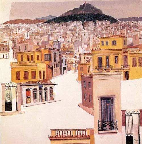 Η νεοκλασική Αθήνα με τον Λυκαβηττό, ζωγραφισμένη από τον Σπύρο Βασιλείου