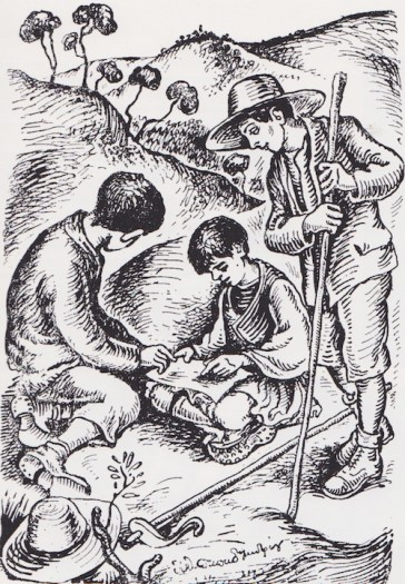 Από τα «Ψηλά Βουνά» στην έκδοση του 1974, με εικονογράφηση Ευθυμίου Παπαδημητρίου. Τα «Ψηλά Βουνά» επανήλθαν στα σχολειά το 1974, όταν μετά τη Χούντα κρίθηκε ως το καταλληλότερο αναγνωστικό να διδαχθούν τα ελληνόπουλα.