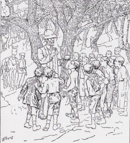 Μιαν ιδέα για τη στολή του δασάρχη (ανάμεσα στα παιδιά) και του δασοφύλακα στο βάθος, παίρνουμε από σκίτσο του Πέτρου Ρούμπου, στην έκδοση των «Ψηλών Βουνών» του Ζαχαρία Παπαντωνίου, του 1918.