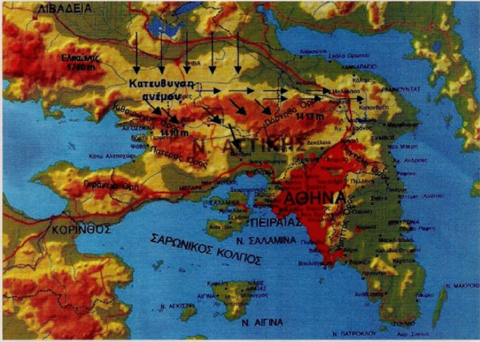 Εικόνα 1: Η κατεύθυνση της Πάρνηθας, του Κιθαιρώνα και του Ελικώνα από Ανατολικά προς Δυτικά, συμβάλλει συχνά στην εκδήλωση έντονων βροχοπτώσεων, χιονοπτώσεων και πυκνής ομίχλης, τόσο στις βόρειες πλαγιές τους όσο και στην περιοχή της Μαλακάσας.