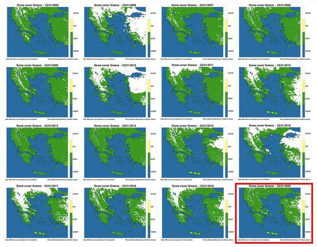 Εικόνα 1. Η χιονοκάλυψη (λευκό χρώμα) όπως εκτιμήθηκε από δορυφορικές μετρήσεις για 23 Ιανουαρίου μεταξύ της περιόδου 2005 - 2020.