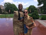Seniors Philip Chujor (left) and Sydney Shortreed (right) modeling their hand-made costumes after an activity in the Amazing Race.