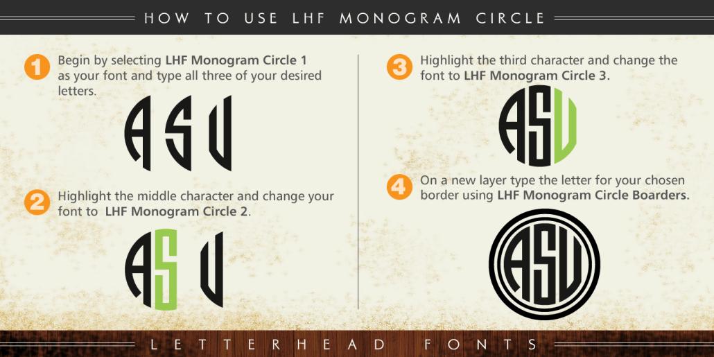Tipografía descargable para hacer monogramas circulares.