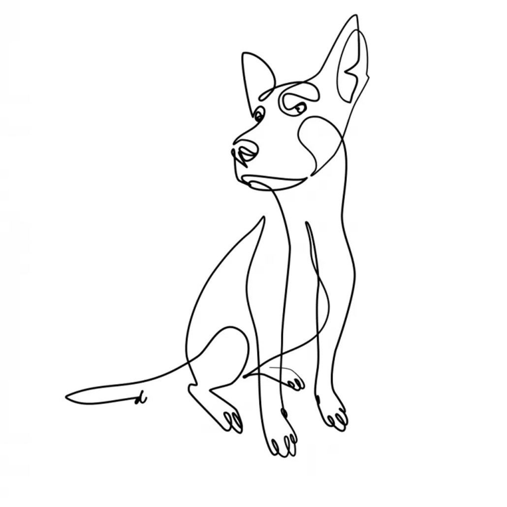Iilustracion personalizada mascota retrato animal perro blanco y negro a mano con lápiz digital.