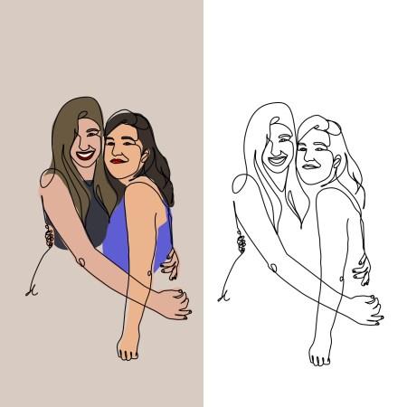 Ilustraciones personalizadas amigas pareja
