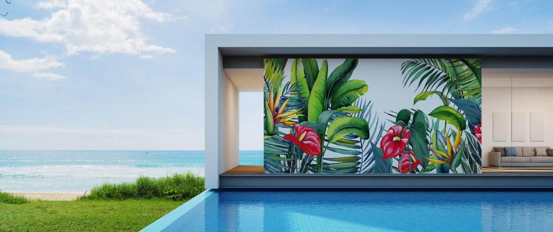 Graffiti profesional, pintura mural de plantas para decoración de pared