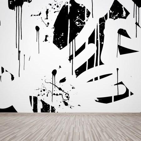 Mural abstracto pintado a mano en pared