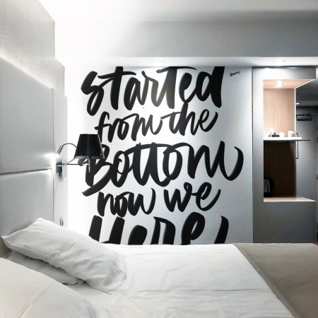 Lettering Mural Handpainted Calligraphy on Wall with a Quote by Dase
