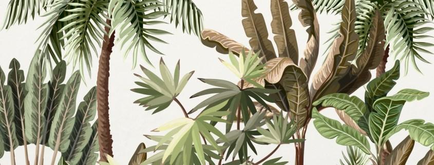 Mural pintado a mano con diseño de plantas exoticas y vegetacion