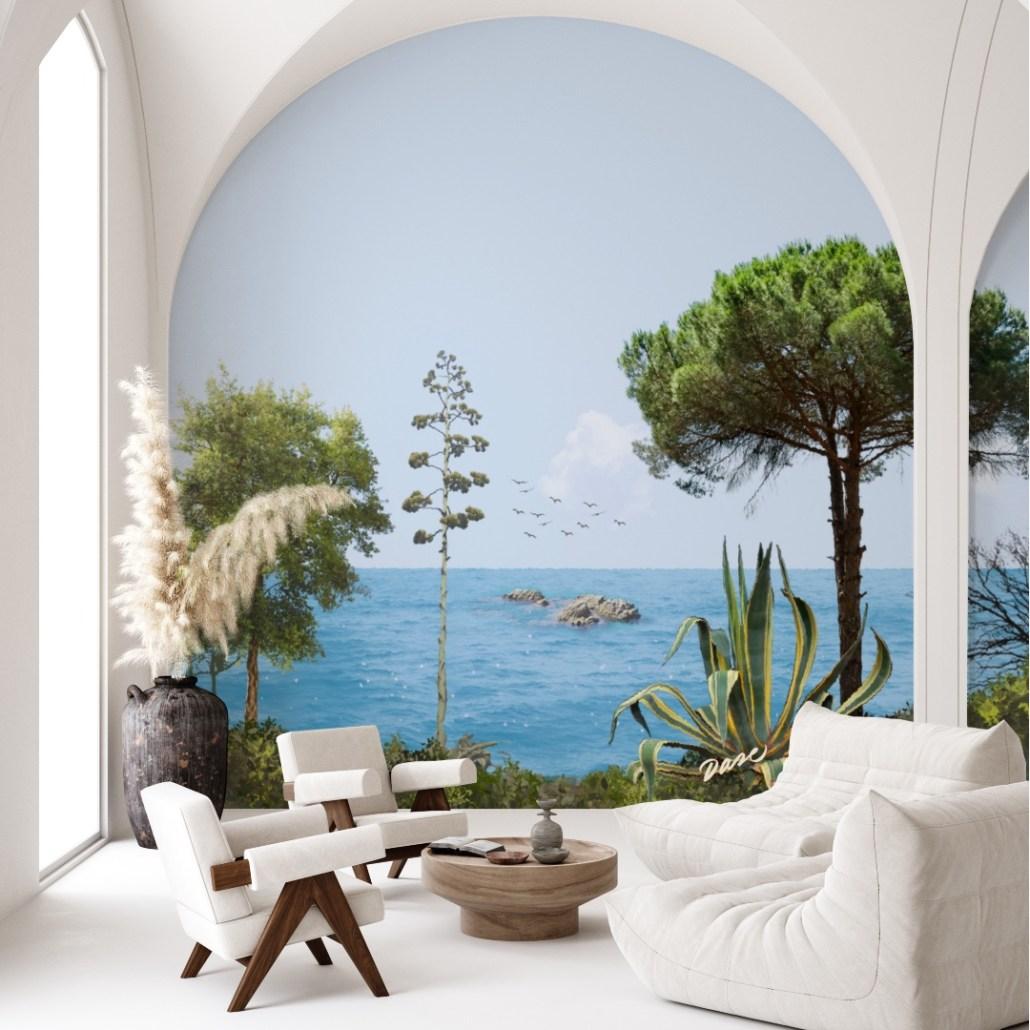 Mural con paisaje de mar mediterráneo y plantas