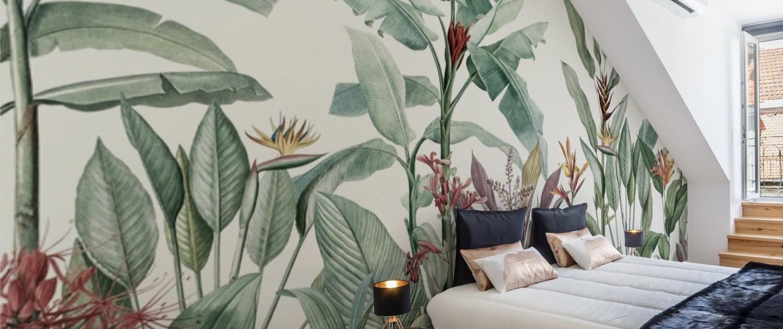 Mural vegetación selva tropical pintado a mano en pared